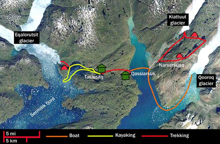 greenland-hiking and kayaking-map