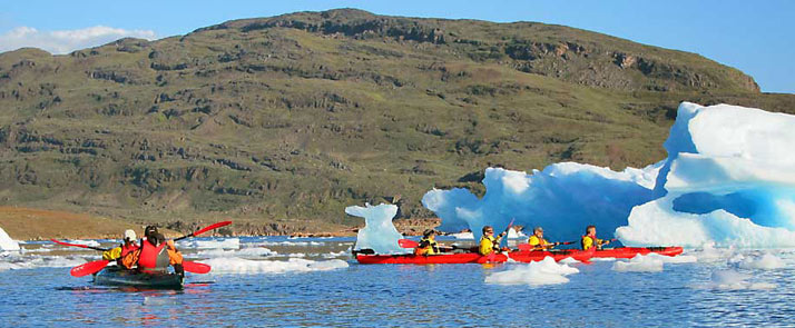 kayaking among icbergs excursion south greenland