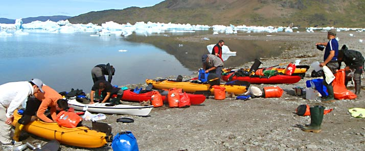 kayak and ice hiking in greenland beach
